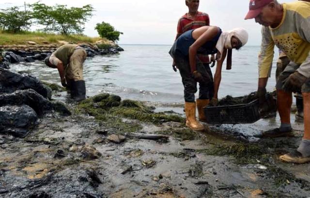 Maracaibo,Venezuela,20/06/2016. Restos de petroleo son recogidos en las orillas de la segunta etapa del Paseo del Lago, por cuadrillas de PDVSA.